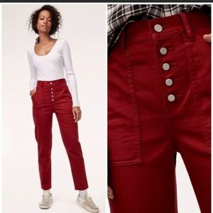 Aritzia Wilfred Free 6 Red Cropped Ankle Jeans 6